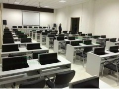翻转电脑桌 电教室 多媒体会议翻转电脑桌双人