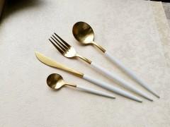 葡萄牙同款刀叉白金不锈钢西餐刀叉黑金刀叉4件套里昂