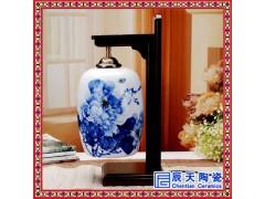 现代新中式陶瓷台灯卧室床头灯美式古典客厅灯具实木门厅走廊灯