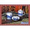 景德镇青花瓷茶杯烟灰缸笔筒组合办公四件套酒店带盖礼品套装