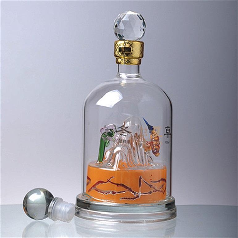 河北玻璃白酒瓶定制厂家生产高档工艺玻璃空酒瓶