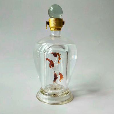 高硼硅玻璃酒瓶创意内置大龙造型玻璃酒瓶定做