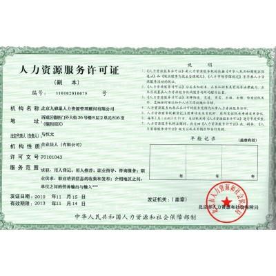 办理人力资源服务许可证所需材料