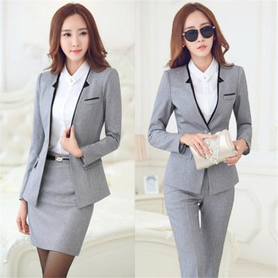 藏青色韩版毛涤西装女式春秋修身三件套西服企业领导工作装