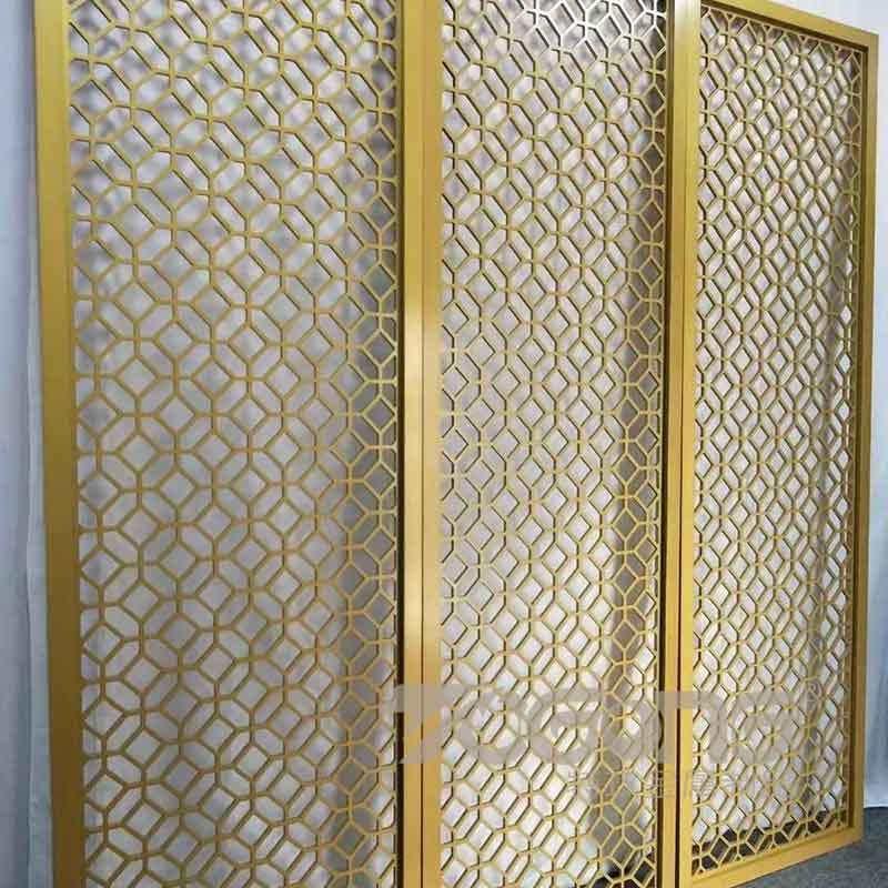 大堂中式不锈钢屏风定制_大型不锈钢屏风背景花格_金属屏风厂家