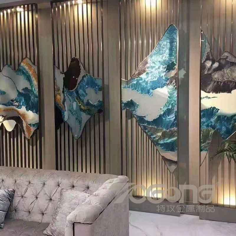 酒店不锈钢屏风_大理石不锈钢屏风隔断_新中式屏风花格厂家