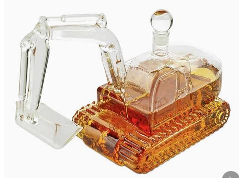 挖掘机造型玻璃白酒瓶手工吹制玻璃白酒瓶子异形车型玻璃醒酒器