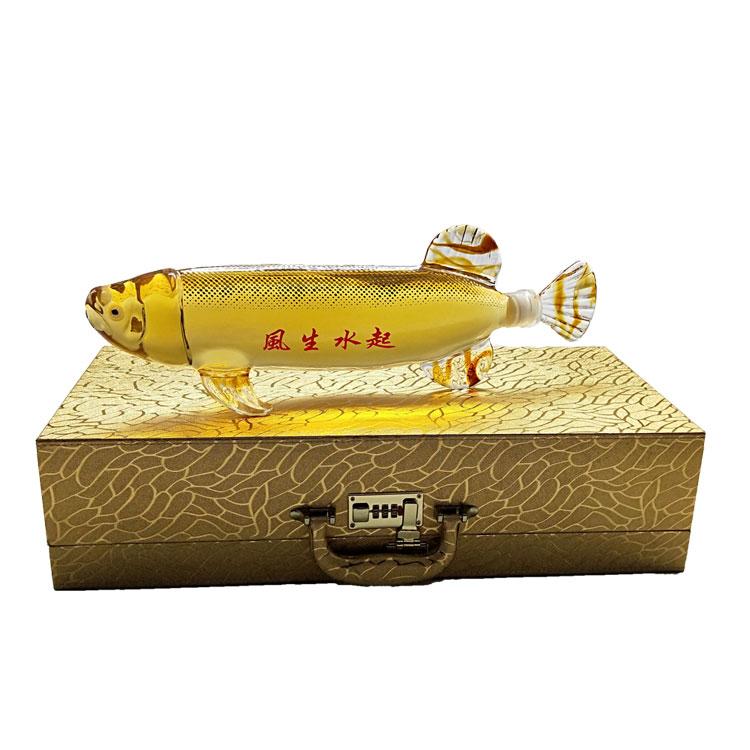 鲤鱼造型玻璃白酒瓶手工大鲤鱼玻璃瓶子动物鱼型玻璃醒酒器洋酒瓶