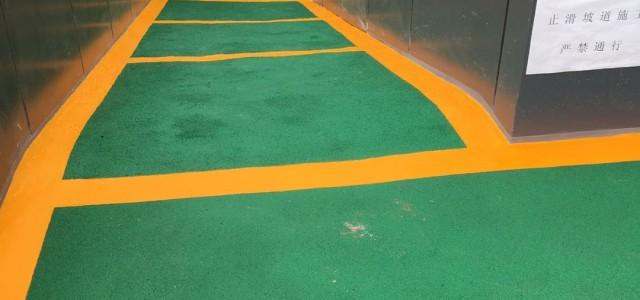 南京道路划线-无溶剂无振动止滑坡道黄线层施工