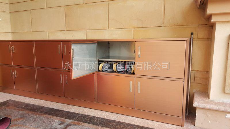新飞亚排屋别墅门厅彩色不锈钢鞋柜